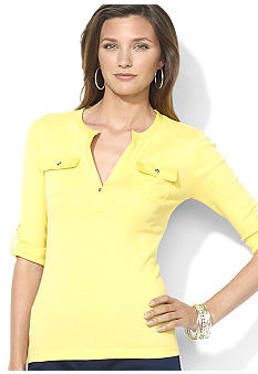Lauren Ralph Lauren Petite Open-Placket Cotton Top