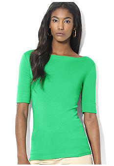 Lauren Ralph Lauren Petite Cotton Boatneck Top