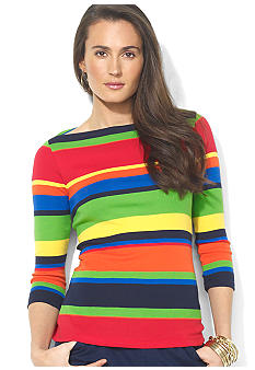 Lauren Ralph Lauren Petite Striped Cotton Boatneck Top