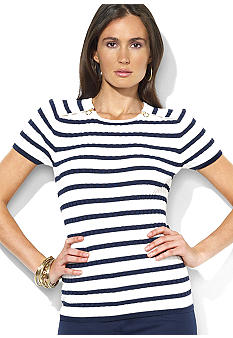 Lauren Ralph Lauren Petite Combed Cotton Striped Crewneck