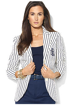 Lauren Ralph Lauren Petite Striped Embroidered Jacket