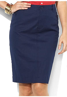 Lauren Ralph Lauren Petite Straight Cotton Skirt