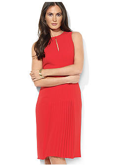 Lauren Ralph Lauren Petite Sleeveless Pleated Crepe Keyhole Dress