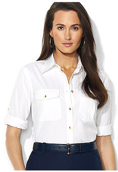 Lauren Ralph Lauren Petite Twill Rolled-Sleeve Workshirt