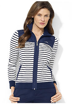 Lauren Ralph Lauren Petite Mockneck Full Zip Striped Jacket