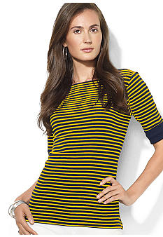 Lauren Ralph Lauren Petite Cotton Boatneck Striped Top