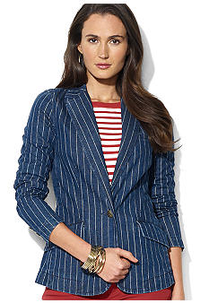 Lauren Ralph Lauren Petite Pin-Striped Denim Blazer