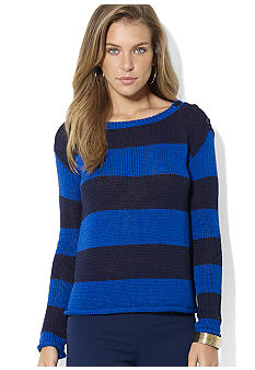 Lauren Ralph Lauren Petite Long-Sleeved Jersey Striped Boatneck Button-Shoulder Sweater