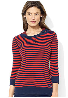 Lauren Ralph Lauren Petite Three-Quarter-Sleeved Striped Waffle-Knit Cotton Hoodie
