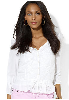 Lauren Ralph Lauren Petite Three-Quarter-Sleeved Embroidered Cotton Top