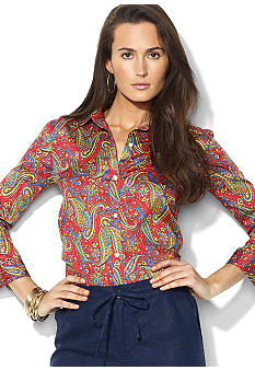 Lauren Ralph Lauren Petite Three-Quarter-Sleeved Paisley Cotton Voile Shirt
