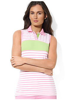 Lauren Ralph Lauren Petite Striped Sleeveless Polo