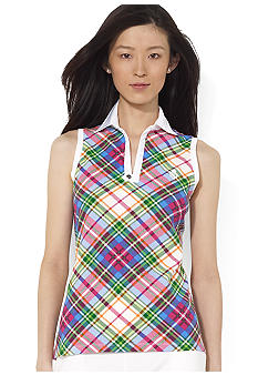 Lauren Ralph Lauren Petite Sleeveless Plaid Cotton Polo