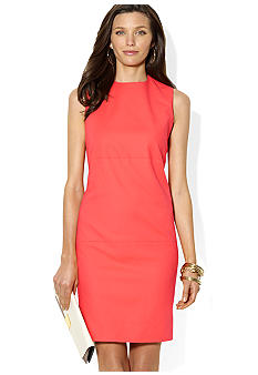 Lauren Ralph Lauren Petite Sleeveless Crewneck Stretch Cotton Shift Dress