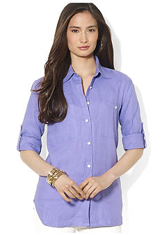Lauren Ralph Lauren Petite Linen Roll-Sleeved Shirt