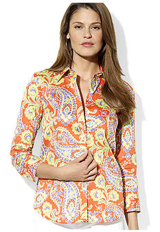 Lauren Ralph Lauren Petite Three-Quarter-Sleeved Paisley Cotton Shirt