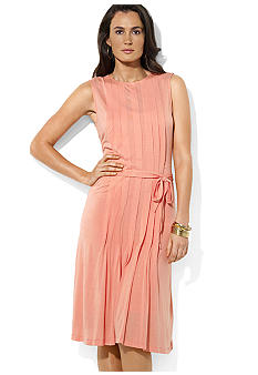 Lauren Ralph Lauren Petite Pleated Crewneck Dress