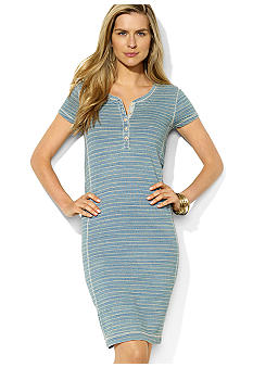 Lauren Ralph Lauren Petite Striped Cotton Chambray Dress