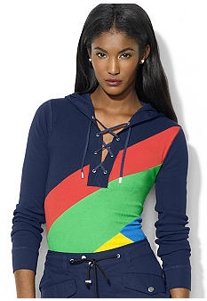 Lauren Ralph Lauren Petite Lace Up Color Blocked Hoodie