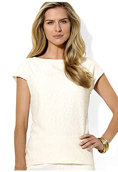 Lauren Ralph Lauren Petite Cap-Sleeved Lace-Front Top