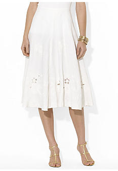 Lauren Ralph Lauren Petite Embroidered Cotton Skirt