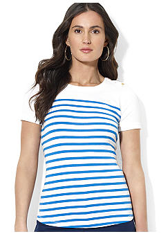 Lauren Ralph Lauren Petite Striped Cotton Crewneck Tee