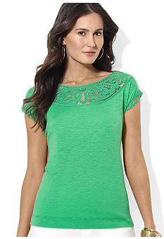 Lauren Ralph Lauren Petite Cotton Lace Balletneck Top