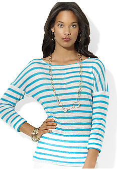 Lauren Ralph Lauren Petite Striped Linen Boatneck Top