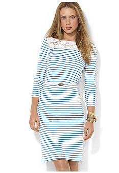 Lauren Ralph Lauren Petite Striped Lace Cotton Dress
