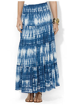 Lauren Jeans Co. Petite Tie-Dye Smocked Cotton Skirt