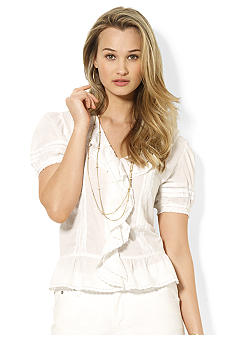 Lauren Ralph Lauren Petite Embroidered Cotton Blouse