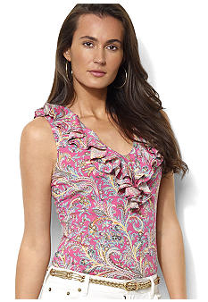 Lauren Ralph Lauren Petite Sleeveless Ruffled Paisley Top
