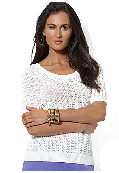 Lauren Ralph Lauren Petite Combed Cotton Scoopneck Top