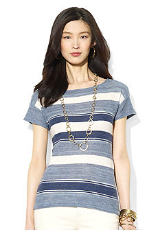 Lauren Ralph Lauren Petite Striped Cotton Linen Top