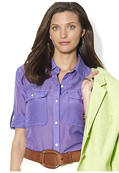 Lauren Ralph Lauren Petite Cotton-Blended Workshirt