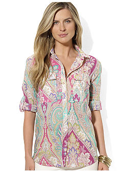 Lauren Ralph Lauren Petite Roll Sleeve Work Shirt