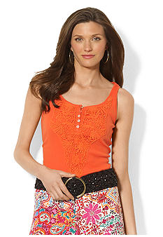 Lauren Ralph Lauren Petite Embroidered Cotton Tank