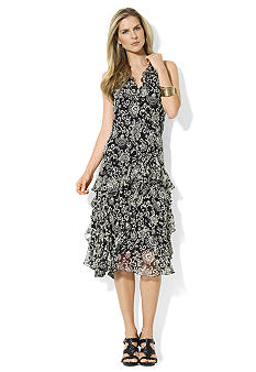 Lauren Ralph Lauren Petite Sleeveless Ruffled Dress