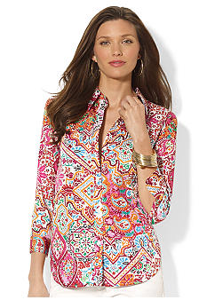 Lauren Ralph Lauren Petite Three-Quarter-Sleeved Printed Button Down Shirt
