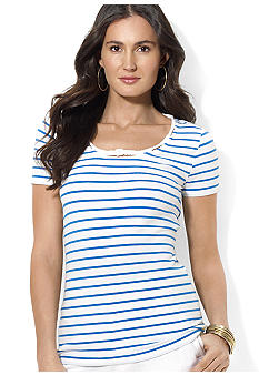 Lauren Ralph Lauren Petite Striped Cotton Scoopneck