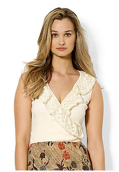 Lauren Ralph Lauren Petite Cotton Faux-Wrap Lace Tank