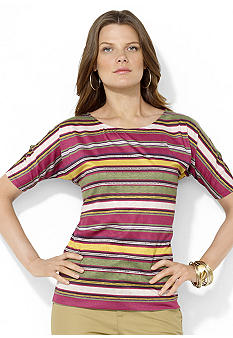 Lauren Ralph Lauren Petite Short-Sleeved Striped Top
