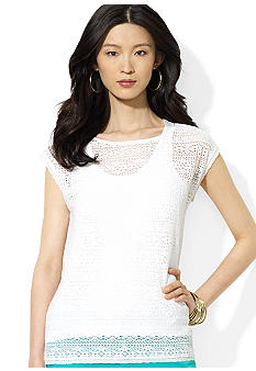 Lauren Ralph Lauren Petite Crocheted Cotton Boatneck Top