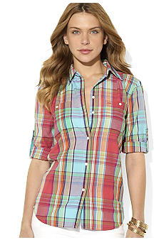 Lauren Ralph Lauren Petite Plaid Linen Workshirt