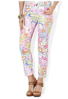 Lauren Ralph Lauren Petite Stretch Cotton Floral Print Pants