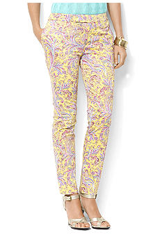Lauren Ralph Lauren Petite Slim Paisley Stretch Pants