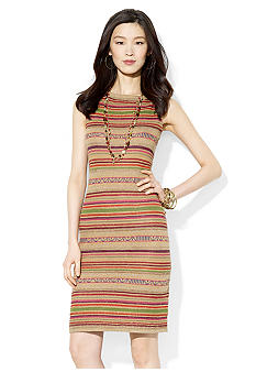 Lauren Ralph Lauren Petite Striped Linen Boatneck Dress