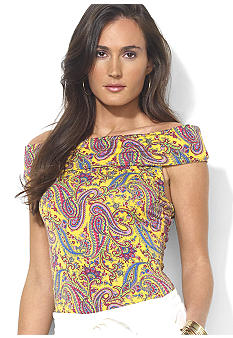 Lauren Ralph Lauren Petite Off-the-Shoulder Paisley Stretch Jersey Top