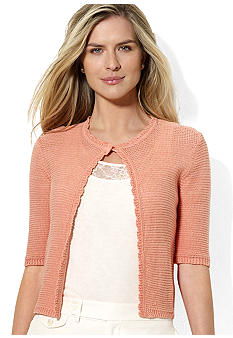 Lauren Ralph Lauren Petite Crocheted Cropped Cardigan