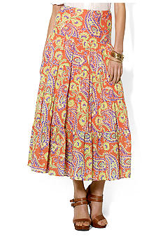 Lauren Ralph Lauren Petite Paisley Cotton Voile Tiered Skirt